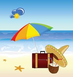 Coconut and beach stuff vector