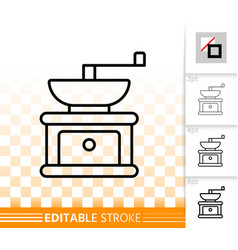 Coffee grinder simple black line icon vector