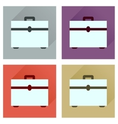 Concept flat icons with long shadow case vector image
