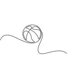 continuous one line drawing basketball icon vector image