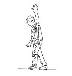 continuous one line drawing of the boy walks along vector image