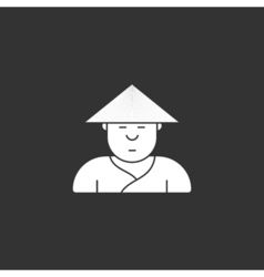 Contour icon cute Japanese three-cornered hat vector