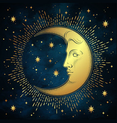 Crescent moon and stars in antique style vector