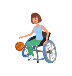 Cute athlete woman with physical disabilities vector