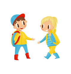 cute boy and girl with backpack on shoulders vector image