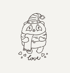 Cute panda in scarf and hat wildlife ecology vector