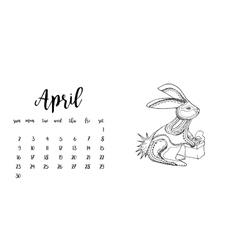 Desk calendar template for month April vector