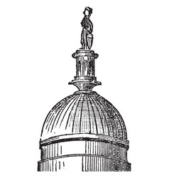 Dome cupola vintage engraving vector