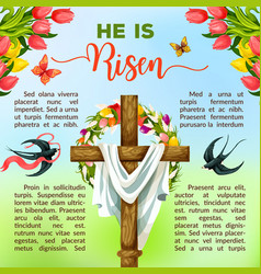 Easter cross with flower and bird poster template vector