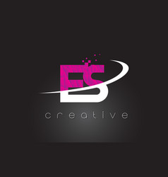 Es e s creative letters design with white pink vector