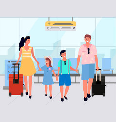 family with baggage in departure lounge vector image