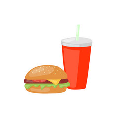 Fast food set big hamburger and soda icon vector
