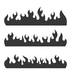 Fire Burning Flames Set on a White Background vector image