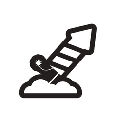 Flat icon in black and white rocket fireworks vector