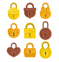 flat set of vintage padlocks decorated with vector image