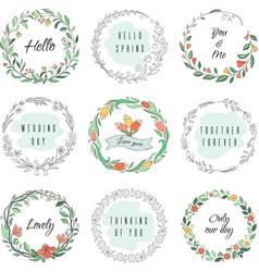 floral circle doodle frames circular laurel vector image