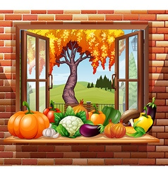 Fresh fruits and vegetables in the room vector