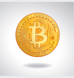 golden coin with bitcoin symbol vector image
