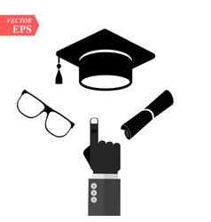 Graduation cap and diploma black web icon vector