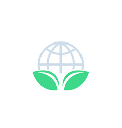 green leaf and globe logo vector image