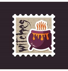 Halloween witch cauldron stamp vector image