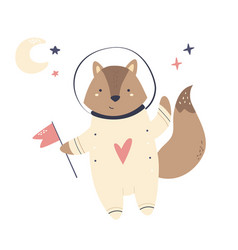 Happy smiling astronaut fox in a spacesuit vector