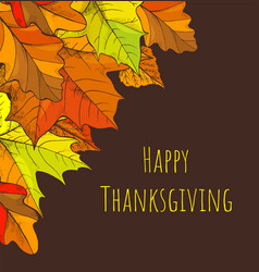 happy thanksgiving holiday fall and leaves vector image