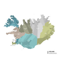 Iceland higt detailed map with subdivisions vector