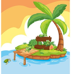 Island scene with frogs and signs vector image