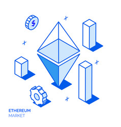 Isometric ethereum investment line style concept vector