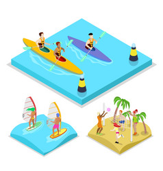 Isometric outdoor activity kayaking surfing vector