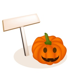 Jack-o-lantern pumpkins and wooden placard vector