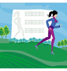Jogging girl abstract frame with space for text vector image