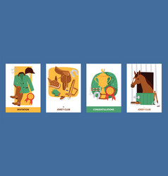 Jokey cards with clothing for horsemen boots vector