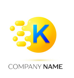 K letter splash yellow dots and circle bubble vector
