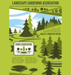 Landscape architecture or gardening company poster vector