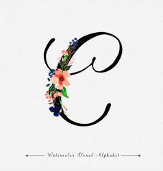 Letter c watercolor floral background vector