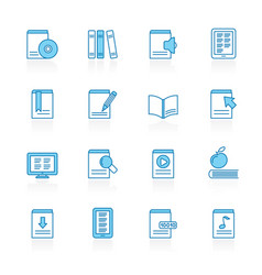 line with blue background book and library vector image