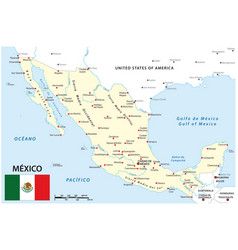 map mexico with national borders and main cities vector image