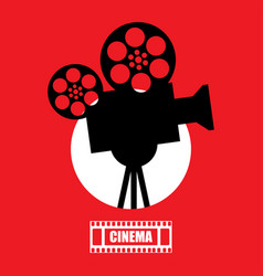 movie time retro black film projector in red vector image