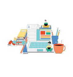 Online article writing - team young cartoon vector