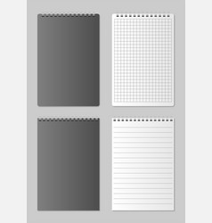 realistic blank open and closed notebook organizer vector image