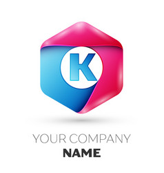 realistic letter k in colorful hexagonal vector image