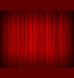 Realistic red full closed stage curtains vector