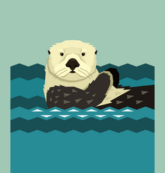 Sea otter floating in water wild animals vector