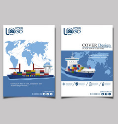 sea shipping banner template set vector image