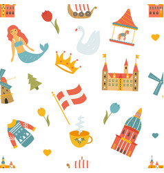 seamess pattern with danisg symbols buildings vector image