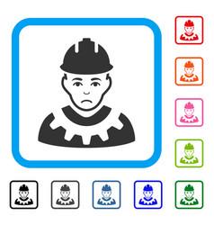 Serviceman framed sad icon vector