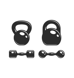 set of dumbbells and kettlebells vector image