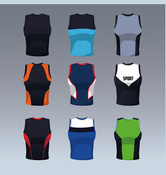Set of sleeveless shirts vector